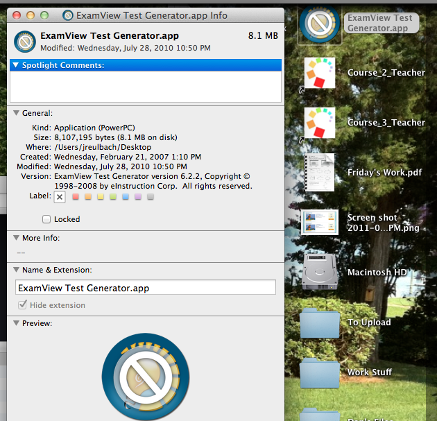 Warning for Mac Users: ExamView will NOT work on OS X Lion