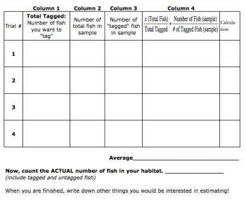 Goldfish Capture Recapture Worksheet