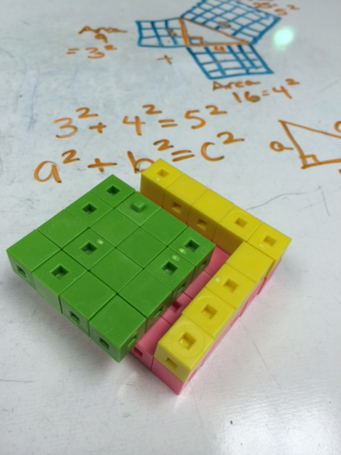 discovering the pythagorean theorem with cm cubes