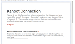 Fill out this form to connect with other math teachers on Kahoot!